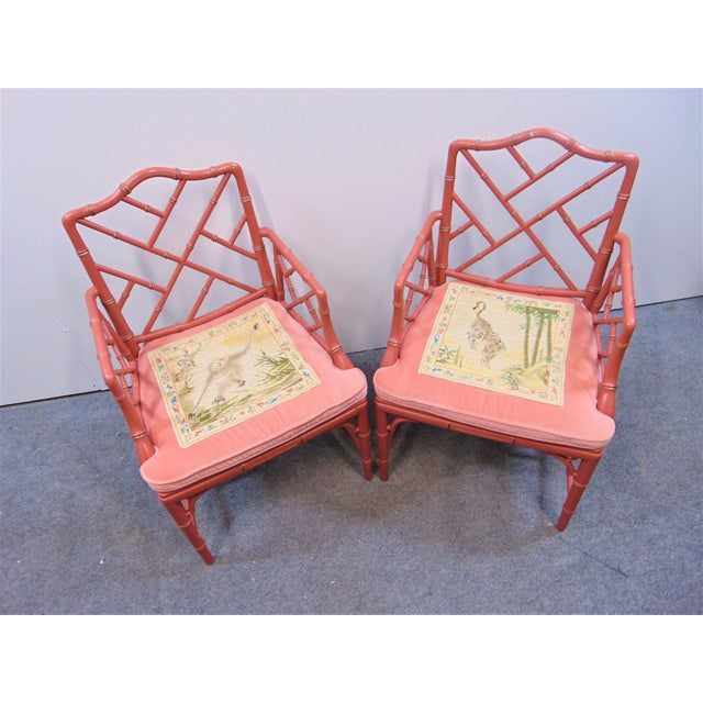Regency Mid 20th Century Regency Faux Bamboo Rose Arm Chairs - a Pair For Sale - Image 3 of 9