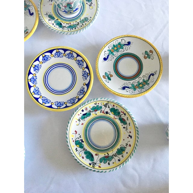 Artistica Italian Majolica Espresso Cups and Saucers - Set of 9 For Sale - Image 11 of 13