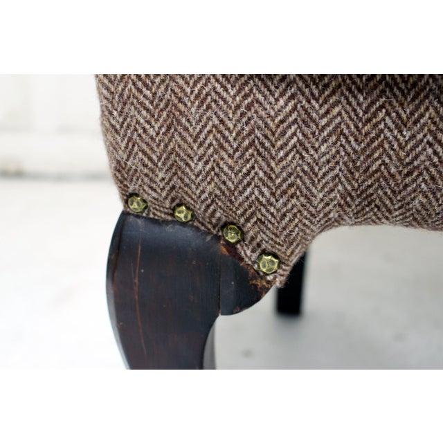 Vintage Wing Chair Reupholstered in Vintage Harris Tweed Fabric For Sale In New York - Image 6 of 11