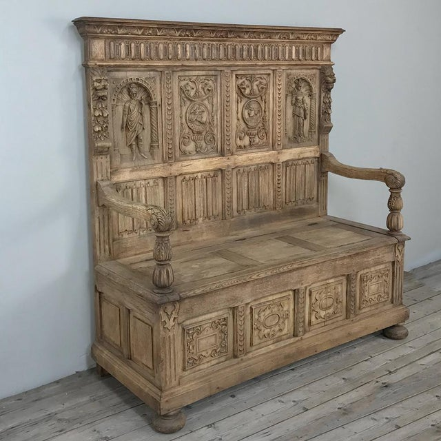 Gothic 19th Century Italian Stripped Oak Hall Bench For Sale - Image 3 of 13