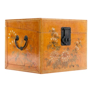 Lawrence & Scott Hand-Painted and Water Buffalo Hide Document Box For Sale
