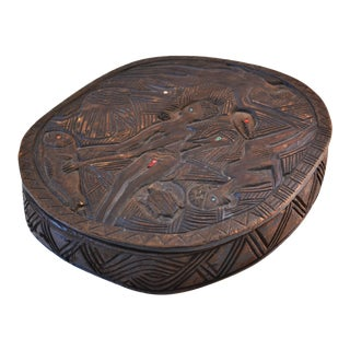 African Hand-Carved Wood Bowl With Lid For Sale