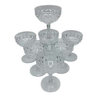 American Clear Fostoria Champagne or Tall Sherbet Pressed Glasses - Set of 7 For Sale