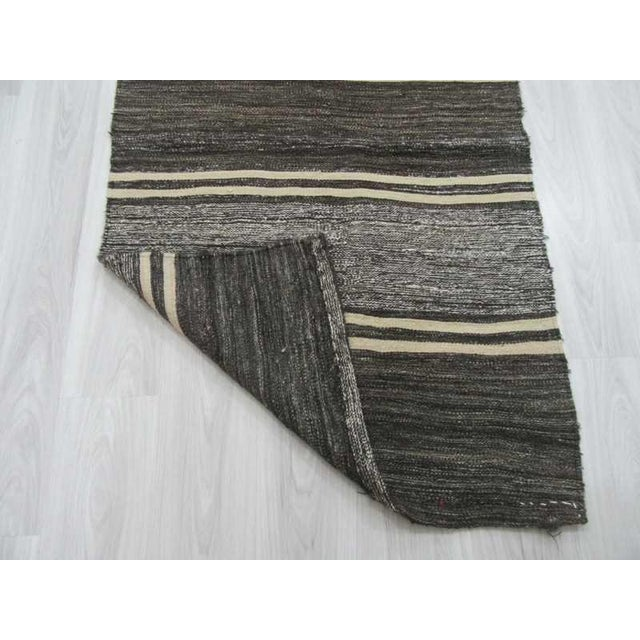 Handwoven Vintage Red Black And Gray Striped Turkish Kilim