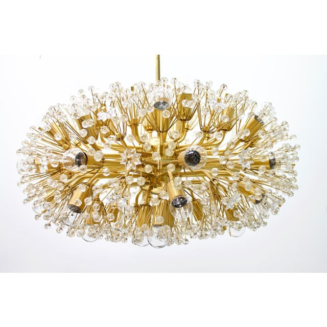 Huge Brass and Glass Chandelier, 1960s For Sale - Image 6 of 7