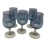 Image of Vintage Iridescent Blue Cordial Glasses - Set of 5 For Sale
