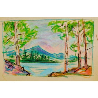 Pastel Mountain Lake Landscape Drawing For Sale