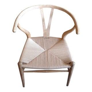 Danish Wishbone White Oak Riff Wood Arm Chair For Sale