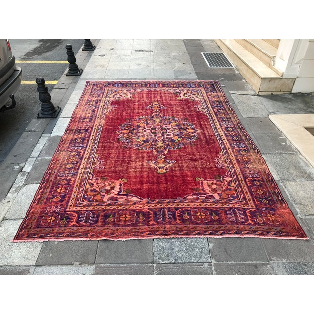 Antique Handwoven Turkish Red Wool Oversize Rug - 7′1″ × 9′10″ For Sale - Image 9 of 9