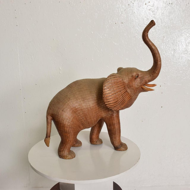 Antique Elephant Wicker Box Hollywood Regency Period For Sale In San Diego - Image 6 of 11