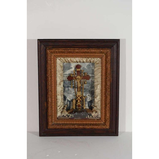 Antique Victorian Religious Shadowbox with Crucifix Scene - Image 2 of 9