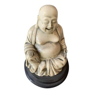 Vintage Small Carved Laughing Buddha Sculpture on Stand For Sale