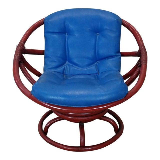 vintage ficks reed 1950 s red rattan swivel papasan chair chairish