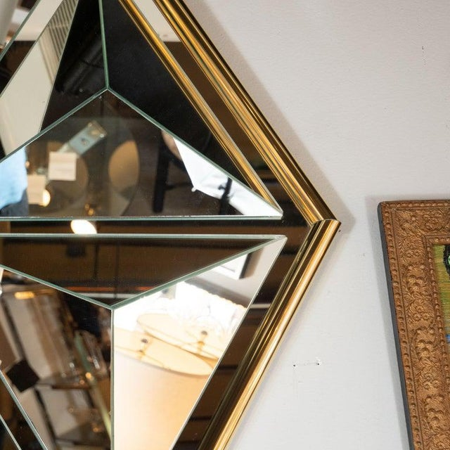 Art Deco Mid-Century Modern Sculptural Hexagonal Brass Mirror With Raised Pyramidal Forms For Sale - Image 3 of 7