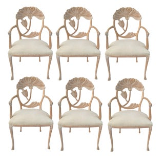 Six Floral Carved Dining Chairs in the Manner of Phyllis Morris For Sale