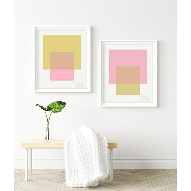 The Interaction of Light Pink and Celery Green by Liz Roache (Pink, Green) This Modern, Mid Century, Contemporary Fine Art...