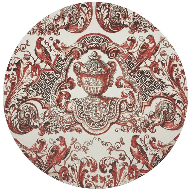 "Nicolette Mayer Royal Delft William and Mary Red 16"" Round Pebble Placemats, Set of 4 For Sale"