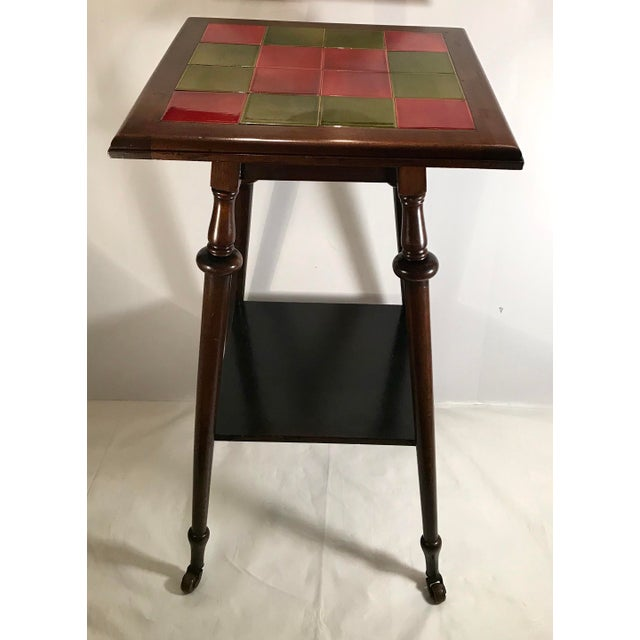 Antique Tile Top Pub Table For Sale - Image 11 of 11
