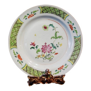 19th C Chinese Export Famille Verte Plate w/ flowers