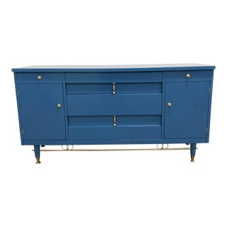 1960s Mid-Century Modern Blue Lacquer Buffet/Console For Sale
