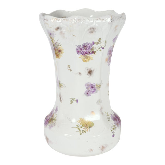 Tall English Porcelain Umbrella Stand / Cane Holder For Sale