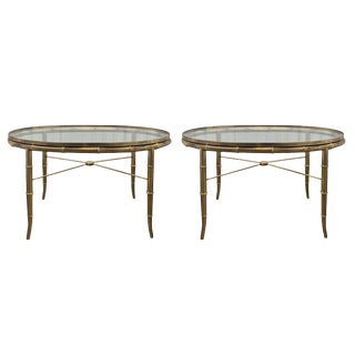 Regency Mastercraft Brass Faux Bamboo and Glass Occasional Tables - A Pair For Sale