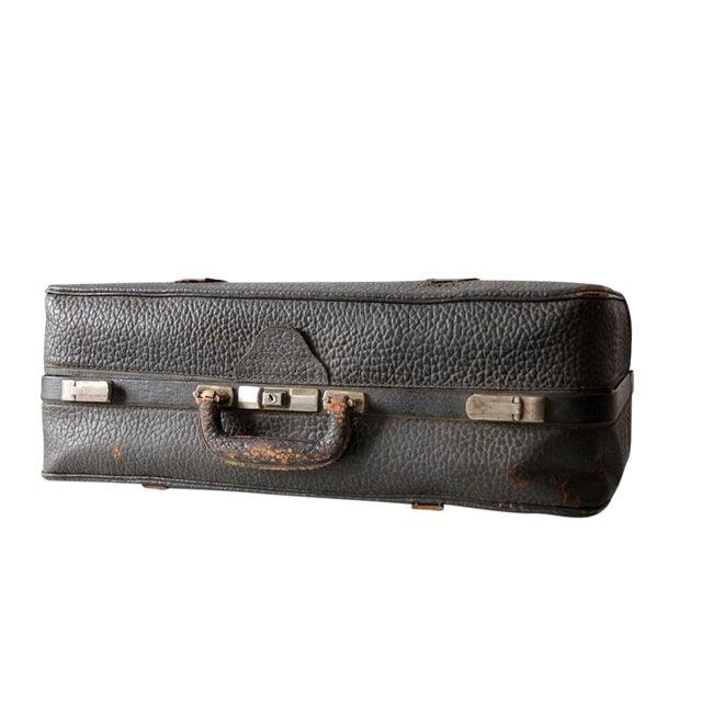 Vintage Black Leather Suitcase - Image 1 of 8