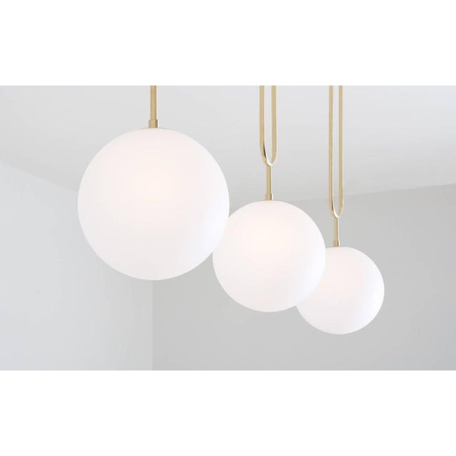 Not Yet Made - Made To Order Modern Koko Pendant Light with Satin Globe Shade in Brushed Brass Finish For Sale - Image 5 of 10
