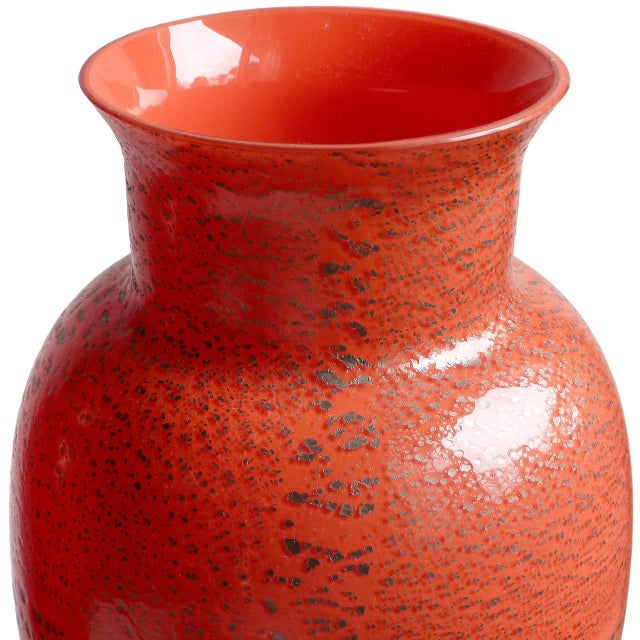 Mid 20th Century Murano Red Applied Heavy Silver Leaf Italian Art Glass Flower Vase For Sale - Image 5 of 8