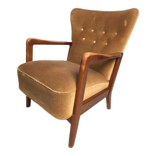 Danish Modern Wingback Chair by Fritz Hansen For Sale