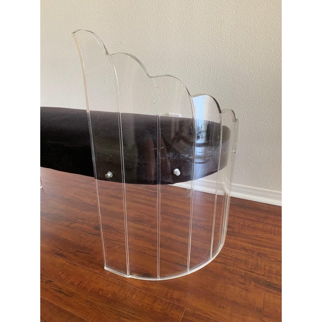 """Textile 1970s Vintage Charles Hollis Jones for Hill Mfg Clear Lucite """"Angel Wings"""" Bench For Sale - Image 7 of 12"""