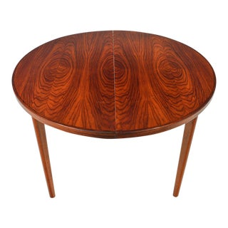 Danish Modern Round Brazilian Rosewood Table With Two Leaves