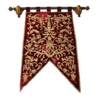 Metallic Embroidered Velvet Coat of Arm Wall Hanging Banner For Sale