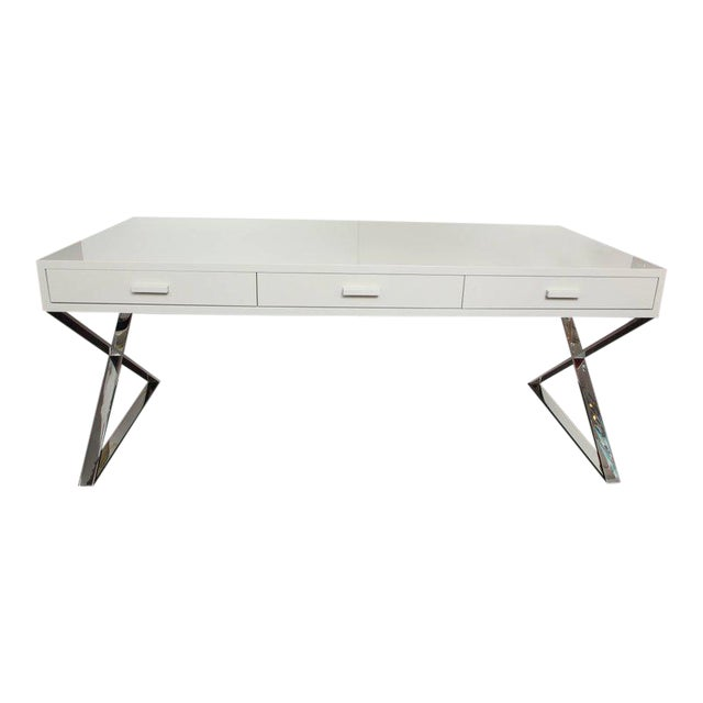 Custom Oversized High Gloss Lacquer Desk For Sale