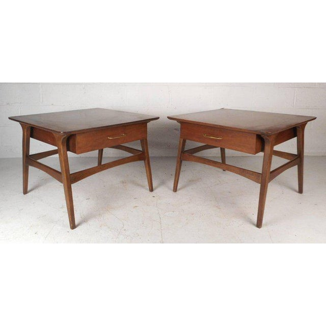 Vintage Modern Walnut Nightstands - A Pair For Sale - Image 9 of 9