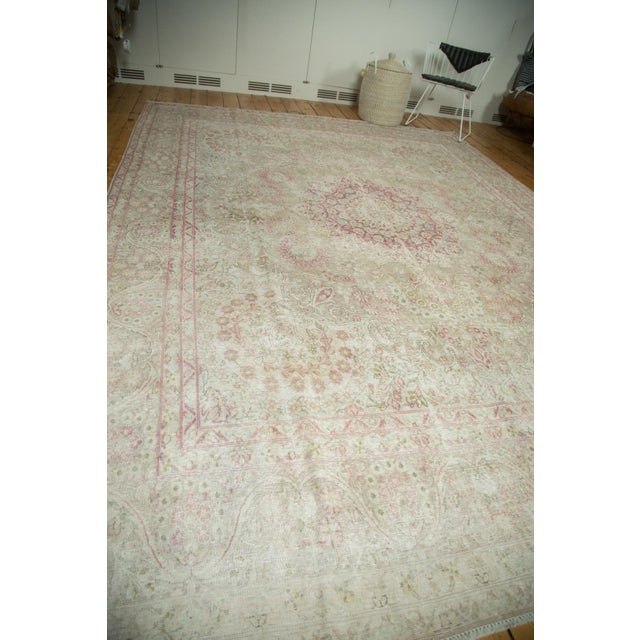 "Vintage Distressed Meshed Carpet - 9'3"" x 12'5"" For Sale - Image 10 of 10"