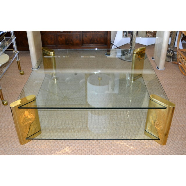 Karl Springer Mid-Century Modern Brass & 2-Tier Glass Coffee Table, Signed For Sale - Image 13 of 13