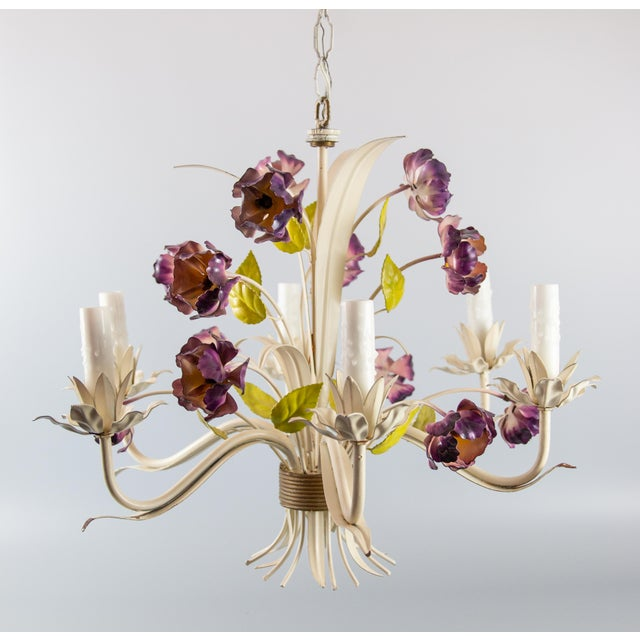 Mid 20th Century Vintage Mid-Century Italian Tole Poppies Six Arm Chandelier For Sale - Image 5 of 11