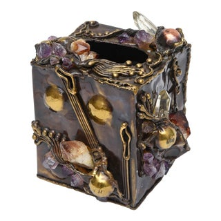 Brutalist Sculptural Mixed Metal and Amethyst, Quartz Tissue Box For Sale