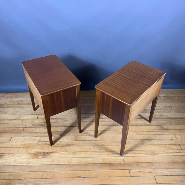 Gold Pair 1950s Drop-Front Nightstands, Mahogany & Brass For Sale - Image 8 of 9