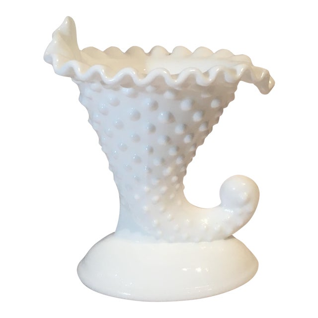Fenton Hobnail Cornucopia Candle Holder For Sale