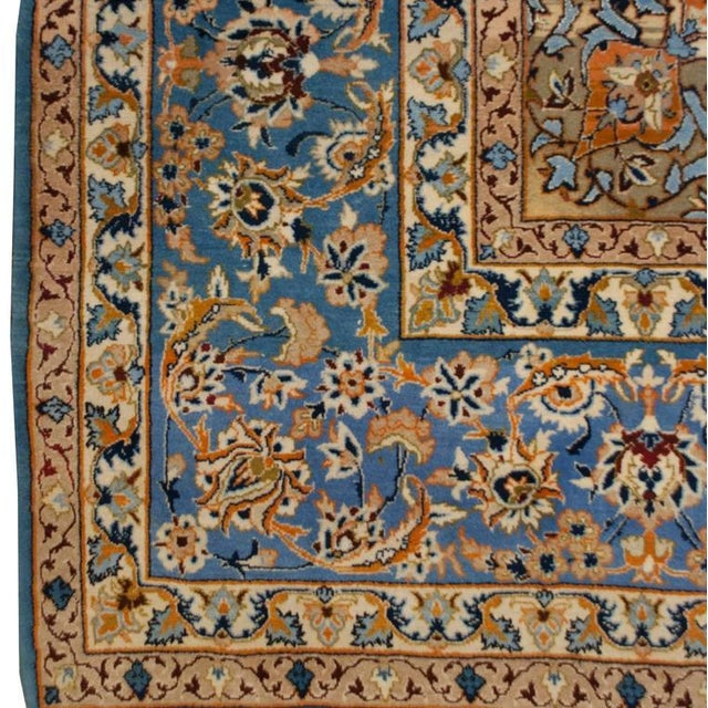 Textile Whimsical Early 20th Century Isfahan Rug - 5′1″ × 7′7″ For Sale - Image 7 of 7