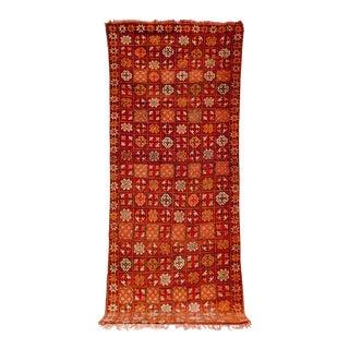 "Vintage Moroccan Boujad Red Floor Rug Runner - 3'3"" X 8'5"" For Sale"