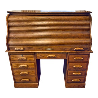 Oak Traditional Style Roll-Top Desk For Sale