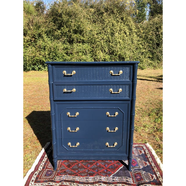 Blue 1970s Lacquered Faux Bamboo Broyhill Dresser For Sale - Image 8 of 13