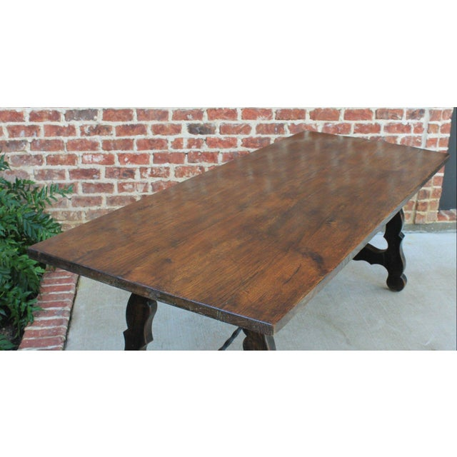 Antique French Spanish Oak 19th Century Mission Catalan Style Farmhouse Dining Table Desk For Sale - Image 11 of 13