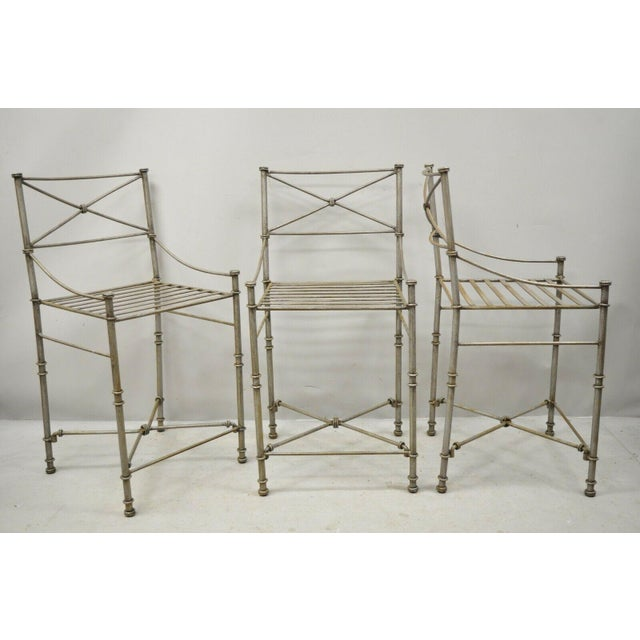 Late 20th Century Pier 1 Medici Pewter Wrought Iron Counter Bar Stools - Set Of 3. Item features wrought iron...