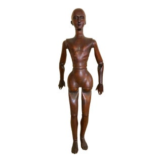 Antique Mid 19th Century Carved Wood Articulated Artists Lay Figure Model For Sale