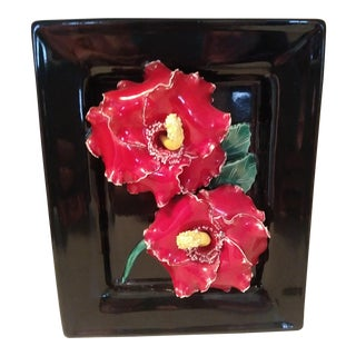 Vintage Black & Red Hibiscus Wall Pocket