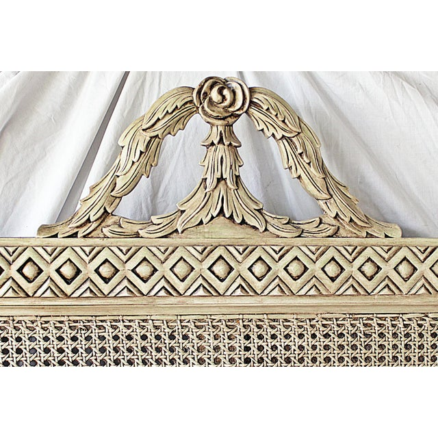 1980s Vintage Louis XVI Style Caned Bed, Queen For Sale - Image 5 of 10